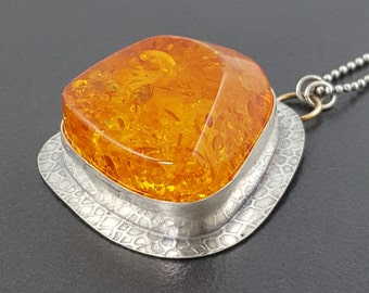 Large Amber Necklace, sterling silver, yellow and silver, boho, bohemian, huge chunk amber, yellow amber necklace, silver gold, chunky amber