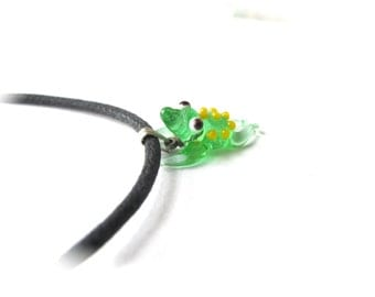 Frog Necklace with Yellow Polka Dots