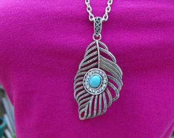 Openwork Feather Pendant Necklace with Turquoise Stone Accent