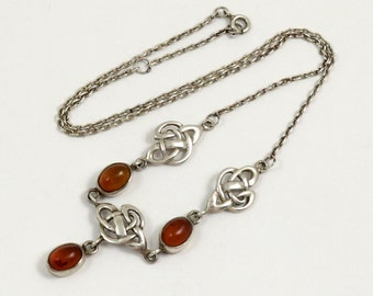 Vintage Kit Heath Sterling Silver Celtic Knot Necklace with Genuine Baltic Amber 925 Silver Natural Amber Drop Necklace Celtic Jewelry
