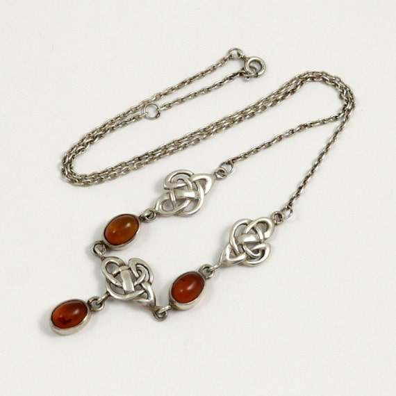 Vintage Kit Heath Sterling Silver Celtic Knot Necklace with Genuine Baltic Amber
