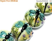 ON SALE 50% OFF Glass Lampwork Bead Set - Seven Blue Dragonfly Lentil Beads 10504602