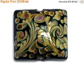 ON SALE 35% OFF Black w/Beige Free Style Pillow Focal Bead -11805304 Handmade Glass Lampwork Bead