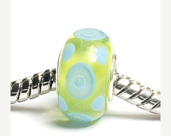 ON SALE 40% OFF Glass Lampwork Beads  - Large Hole Green w/Light Blue Dots Rondelle Bead  - Sc10074