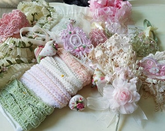 Lot Pretty Pink and Mint Craft Embellishments, Pink Roses, Pink Fabric Embellishments, Lace, Tassels, Hobbies, Crafts