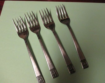 Lot of 4 Salad Forks Custom Design Stainless Steel Flatware Japan Glossy Black Accent