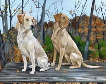Custom Pet Portrait, Custom Dog Painting, Original Animal Painting, custom size 16 x 20 two pets