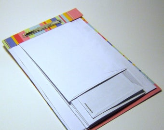 perforated notepad - upcycled junkmail envelopes - rainbow stripes