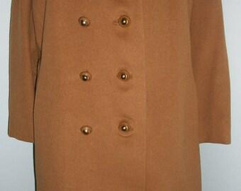 Amazing Vintage 60s camel tan 100% CASHMERE Coat L 40 42