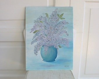 Vintage Floral Painting, Vintage Oil Painting, Lilac Painting, Purple Lilacs Painting, Flowers Floral Canvas, Art Shabby Cottage Chic