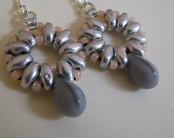 Superduo Earrings, Silver and Soft Gray Teardrop Earrings, Superduo and Sterling Silver Earrings,  Beaded Earrings