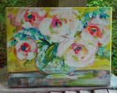 """Abstract Flowers in Glass Vase Pink Roses Original Painting 9"""" x 12"""" Ready to Ship YelliKelli"""