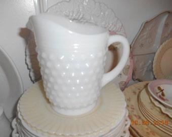 Vintage White Milkglass Hobnail Small Pitcher
