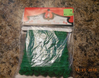 Vintage Sealed never used package 4 yards of Green Christmas Trim