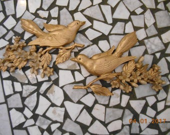 1967 Syroco Made in USA 7037 and 7038 Gold color set of 2 birds on tree branches wall plaques