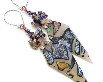 Long Organic Spears Earrings, Handcrafted Polymer Clay, Unique Wearable Art, Festival Jewellery, OOAK (One of a Kind)
