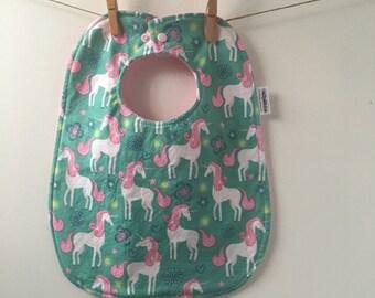 Unicorn Baby Bib - Baby Girl Shower Gift - Unicorn Bib - Unicorn Gift - Girl Baby Bib - Toddler Sized Bib - Bib with Snaps
