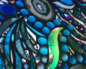 Lost in Turquoise and loving it  No 6 Stained Glass Abstract Art Mixed Media Panel