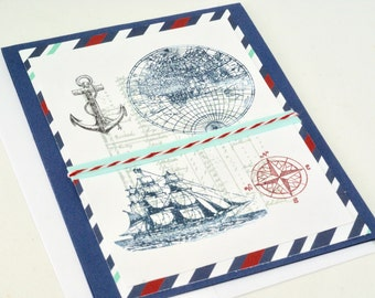 Nautical Card Handmade, Boat Lover Happy Anniversary, Card for Him, Compass Anniversary Card for Man, Dad, Husband, Son, Sailor, Navy