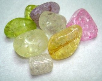 Mix of Ice Flake Quartz Nugget Beads - B3203