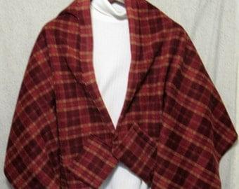 Wine & Gold Plaid Shawl, Bed Jacket, or Reading Shawl - Cold Office / Warm Shawl