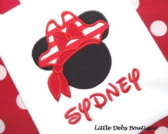 Custom Boutique Minnie Mouse Girls Disney Pirate TShirt - Monogrammed Embroidered - Sizes 12M thru 6