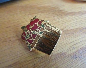apple basket brooch