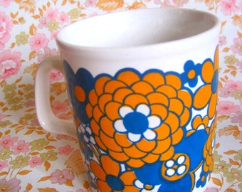 Vintage 1970s Mod Flower Mug - Staffordshire Potteries LTD