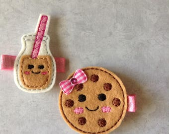 Felt Milk & Cookie Hair Clip, Toddlers Hair Clips, Girls Hair Clips, Felties, Clippies, Hair Bows, Cookies and Milk, Chocolate Chip Cookie