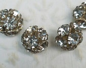 Vintage Button - 4 beautiful matching  flower design rhinestone antique silver finish metal (feb38 17)
