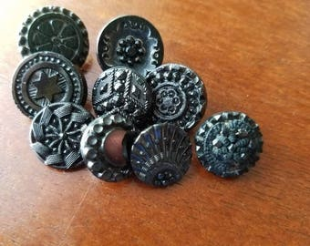 Vintage Buttons -  beautiful lot of 9, assorted small Victorian jet black glass, pressed designs, very old (may5 17)