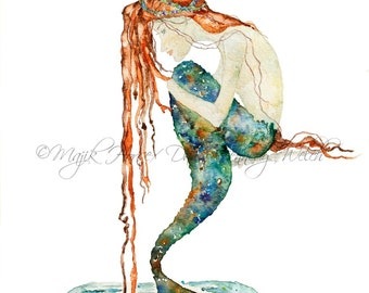 Mermaid Art, Art Print, Mermaid, Mermaid Painting, Watercolor Print, Beach Art, Ocean Art, Beach House Decor, Redhead, Majik Horse