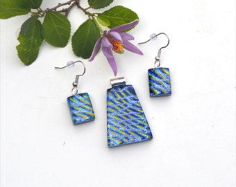 Fused dichroic glass pendant and earring set, three layers, stripes, blue, yellow, silver