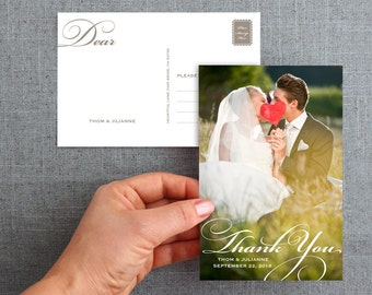 "Digital file, Wedding Thank you Postcards, elegant script, ""Julianne Style"""