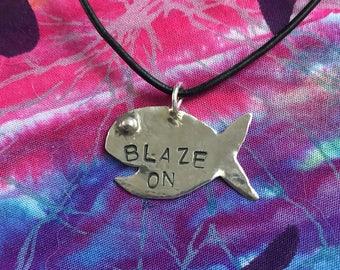 Blaze on sterling silver phish necklace