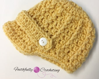 Newborn boy newsboy hat... mustard yellow and white button... photography prop.. ready to ship.. baseball cap