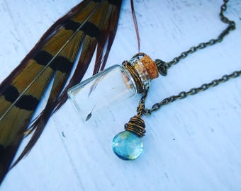 Just One Wish Necklace - Topaz Gemstone Necklace - Tiny Bottle Necklace - Dandelion Seed - Love - Long Necklace - READY TO SHIP