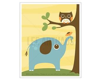 110A Elephant Nursery Print - Owl and Elephant Wall Art - Elephant Print - Elephant Decor - Elephant Art Nursery - Elephant Nursery Decor