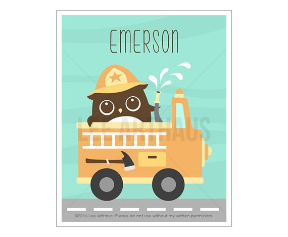 117P Owl Print - Personalized Owl in Firetruck Wall Art - Fire Truck Print - Custom Name Baby Boy Nursery Wall Art - Woodland Nursery Art