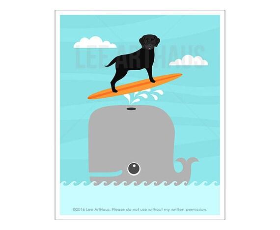 296D Whale Print - Dog Surfing Print - Black Labrador Dog Surfing on Whale Wall Art - Dog Wall Art  - Whale Wall Art - Black Lab Drawing