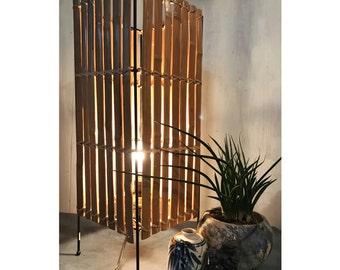 bamboo table lamp - split rattan lamp - asian boho lighting