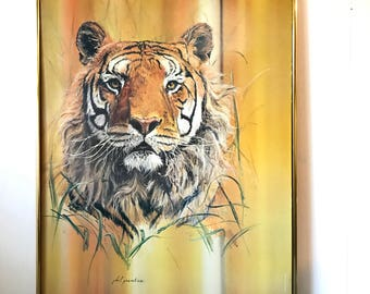 vintage framed lithograph - Tiger Phil Prentice - wildlife safari jungle - yellow orange wall decor