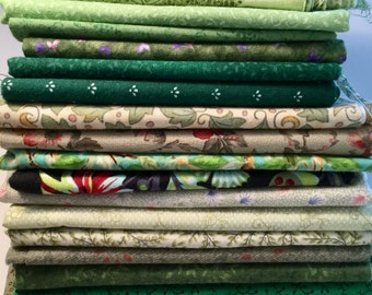 Green Calicoes  Fabric Destash One and one half pounds