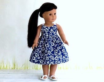Hawaiian Print Tropical Sundress, 18 inch Doll Clothes Summer Doll Dress