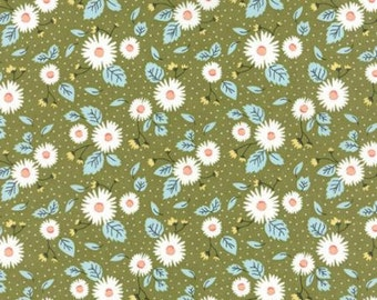 Little Miss Sunshine Daisy Floral Leaf by Lella Boutique for Moda Fabrics 100% Quilters Cotton Available in Yards, Half Yards & Fat Quarters