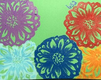 Flower Garden Hand painted notecard