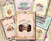 SALE SWEET CAKES Collage Digital Images  -printable download  file-