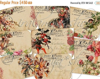SALE HOLIDAY FAIRIES Collage Digital Images -printable download file-