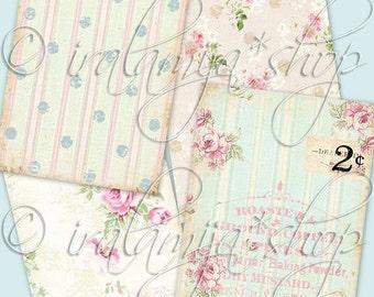 SALE ANTIQUE ROSES backgrounds Collage Digital Images -printable download file-