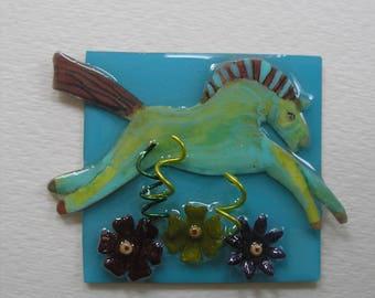 Signed Dalton Modernist Meadow Horse Flowers Pin Pendant